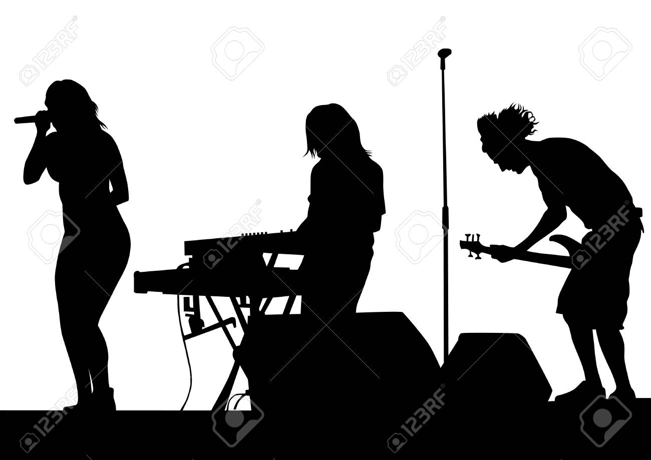 Musical Group People In Concert On Stage White Background Stock Vector