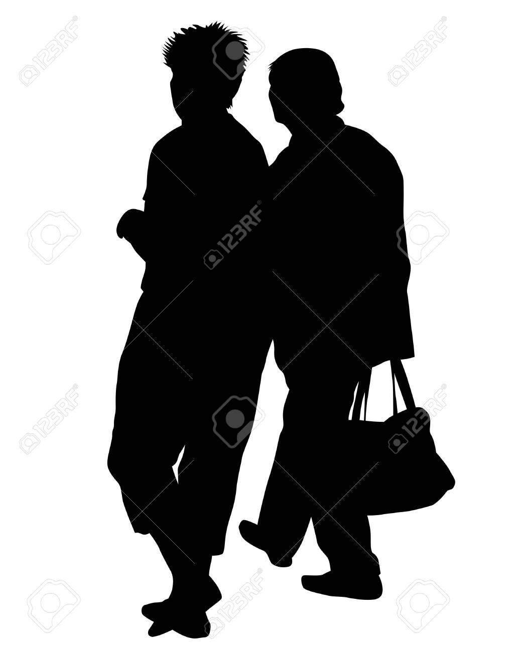 Elderly woman and man with a stick is walking down street. Isolated silhouette on a white background - 143539818