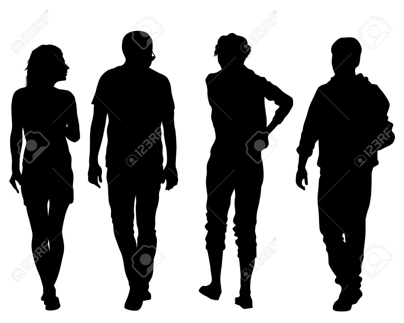 Big crowds people on street. Isolated silhouette on a white background - 144915896