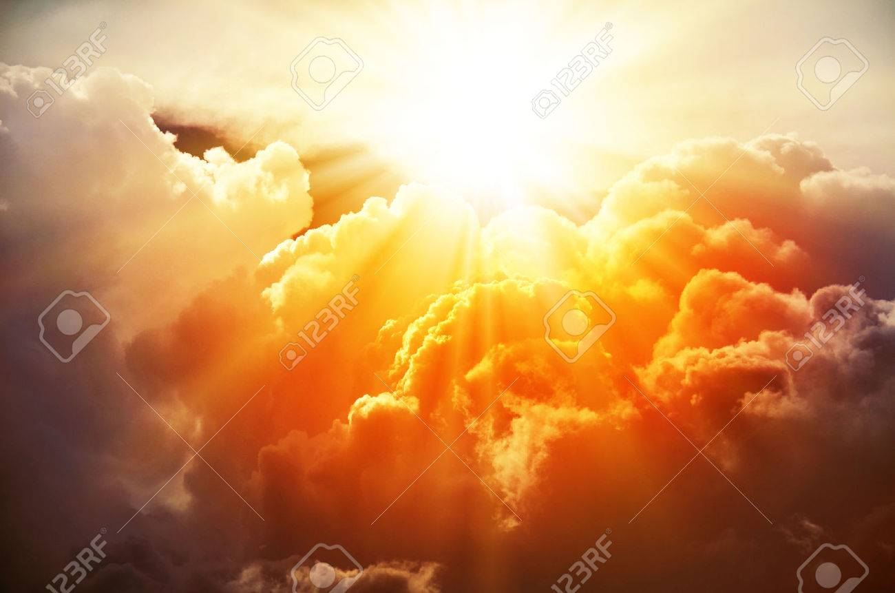 c0e0587bb826d The bright rays of the sun are shining from saturated clouds Stock Photo -  41847483