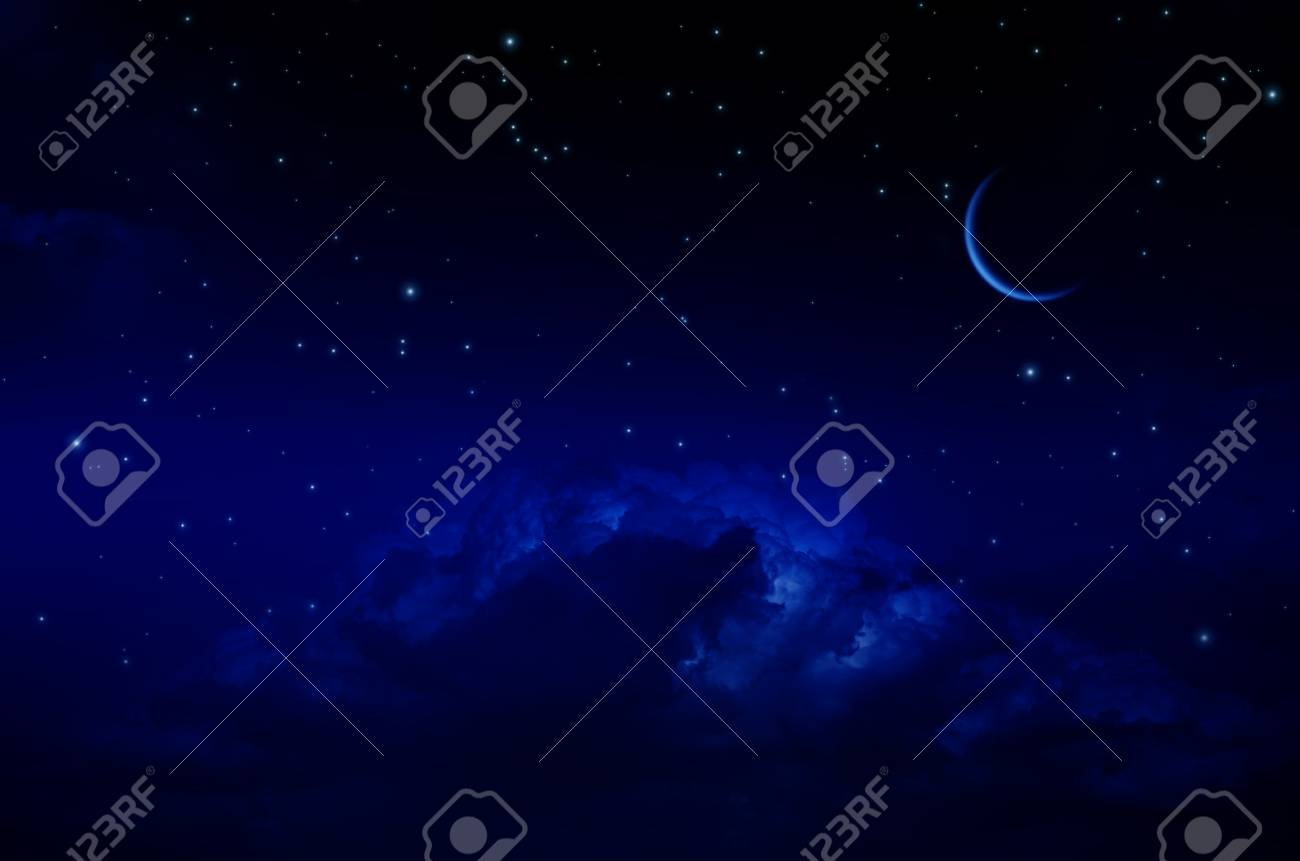 Night sky with stars and clouds. Thin arc moon. Dark blue tint - 62636537
