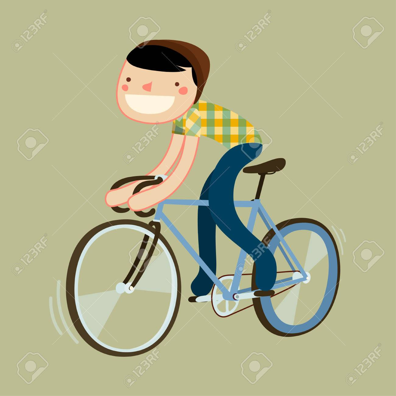 Hipster Riding Fixie Boy Riding Road Bike Character Isolated