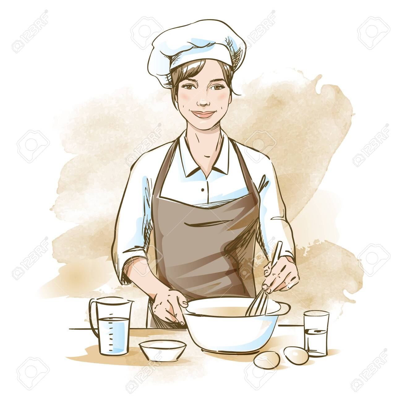Smiling and happy female chef. Woman chef is cooking with whisk. Hand drawn vector illustration on artistic watercolor background. - 123757637