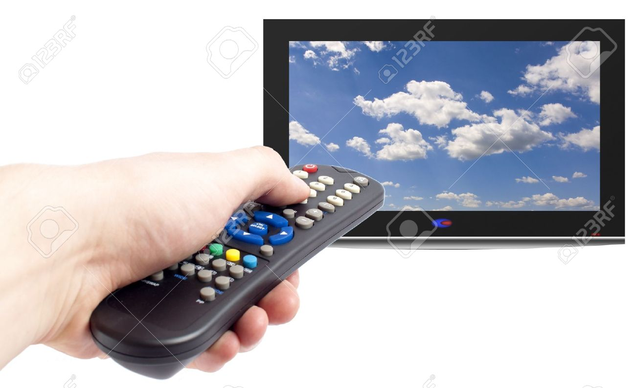 Remote control in men hand and tv set,isolated on white Stock Photo - 10679039