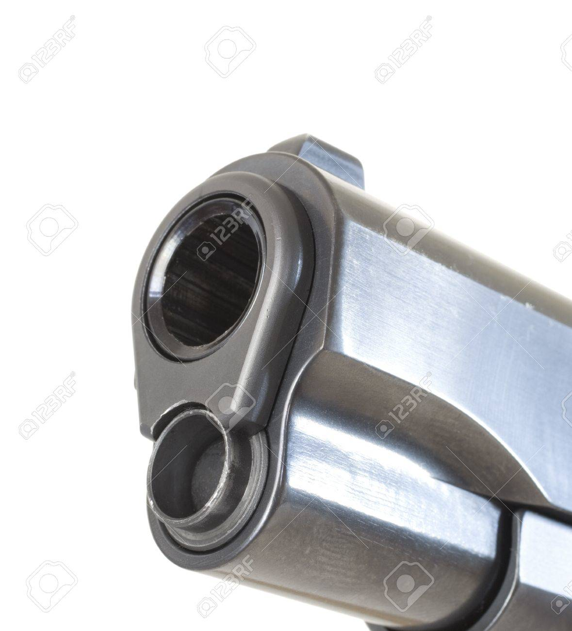 Muzzle end of a classic semi automatic pistol that is isolated Stock Photo - 16656407