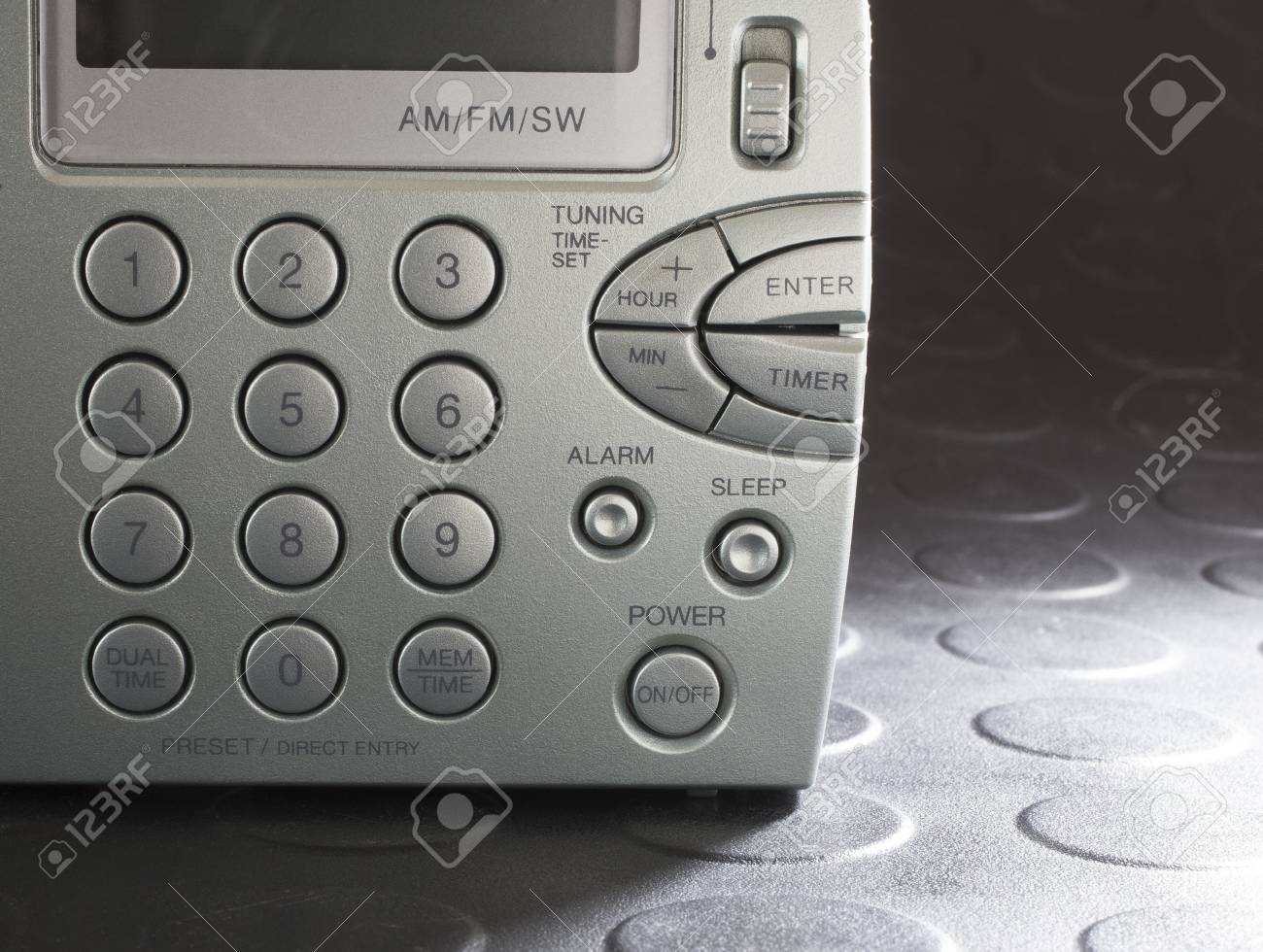 Keypad on a battery powered radio that can receive broadcast