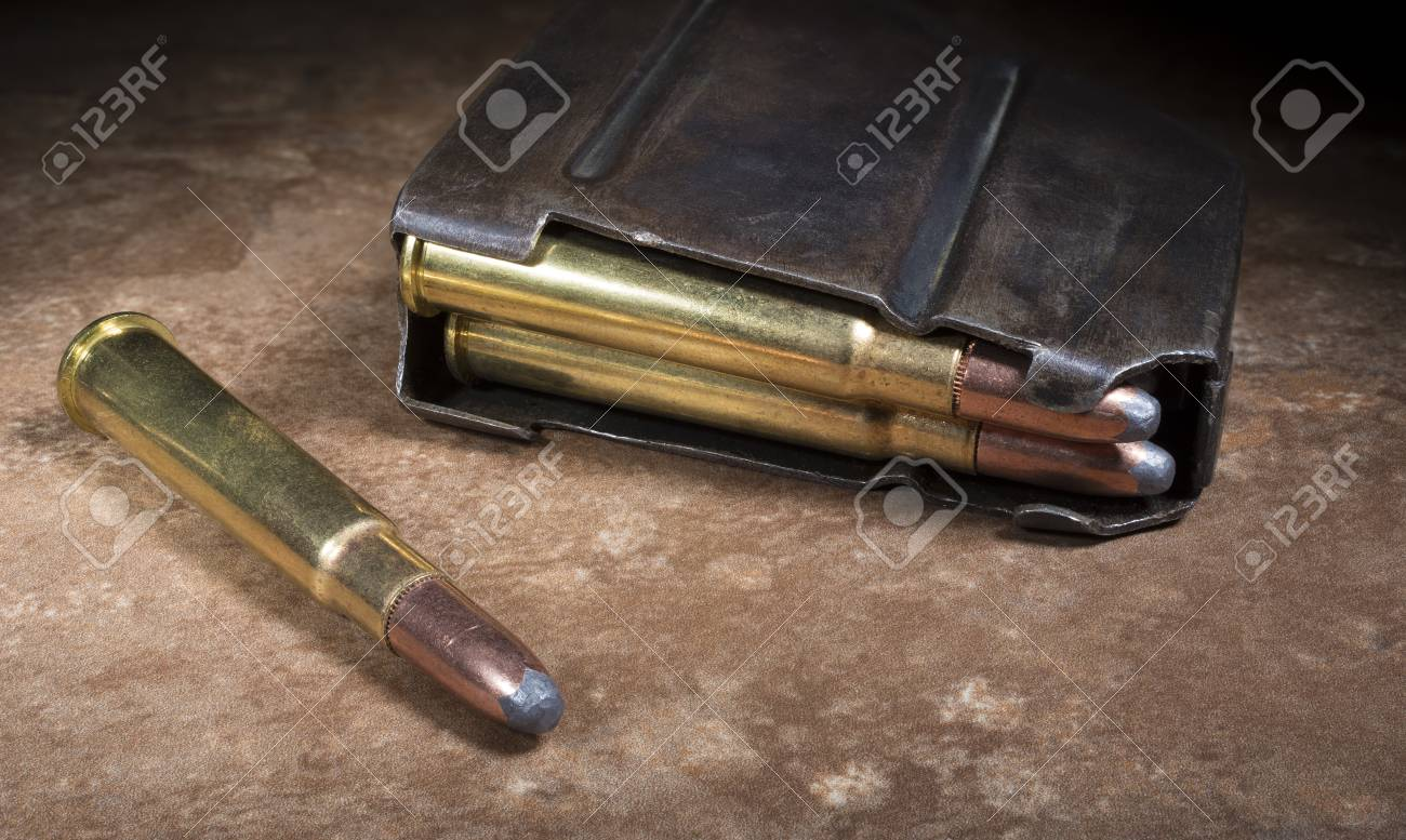 Ammunition And Magazine For A 303 Rifle Used By The British During