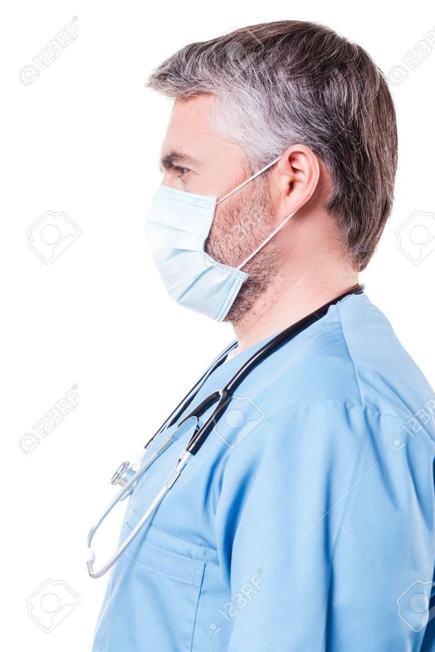 View Doctor In Surgeon Grey Mature Side Of Surgical Hair Confident