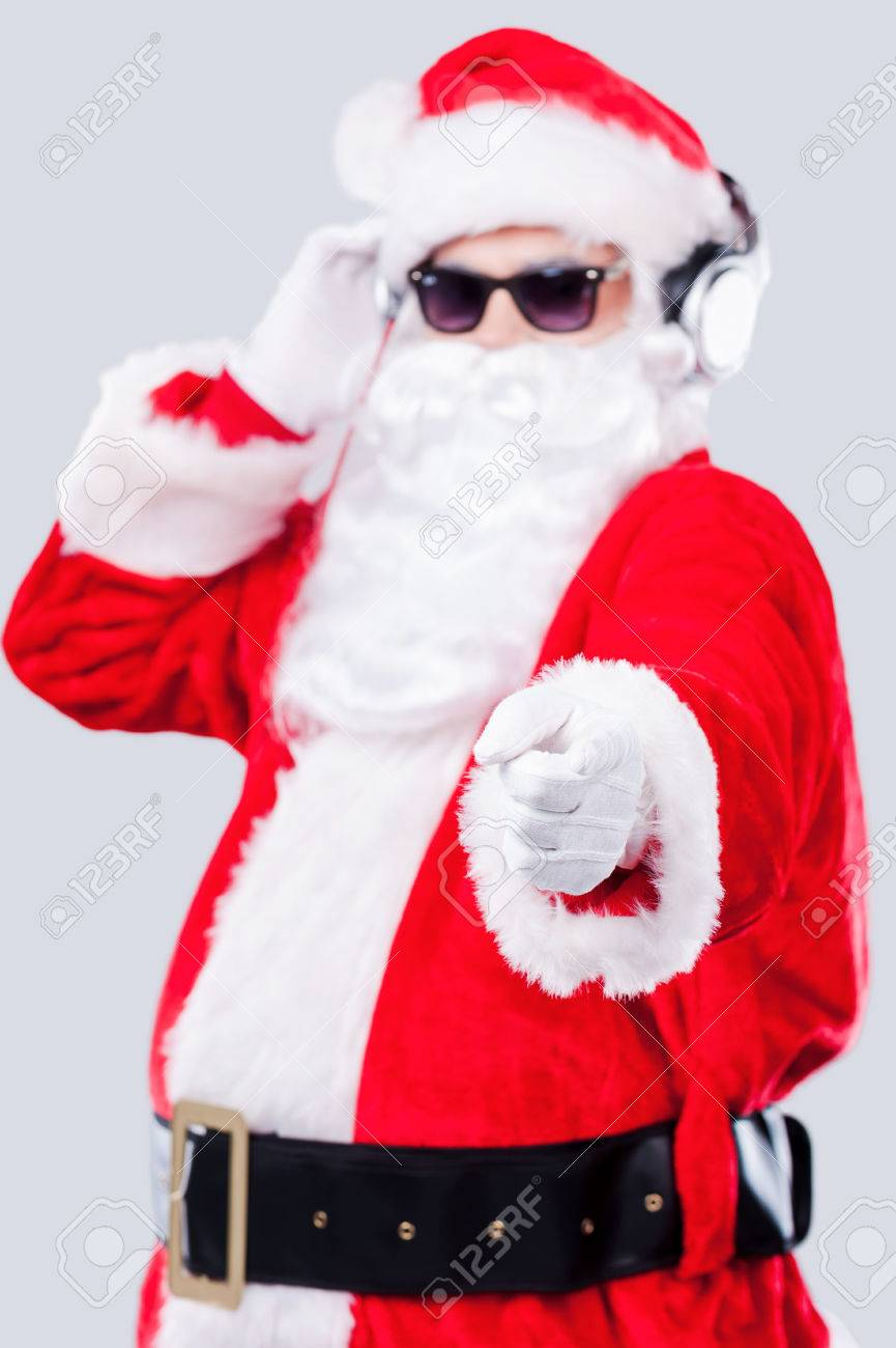 Merry Christmas To You! Cool Santa Claus In Sunglasses Adjusting ...