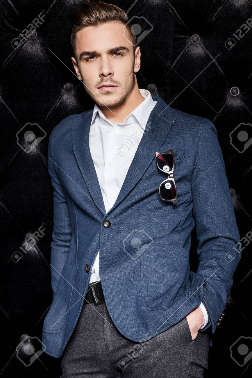 Party Boy Handsome Young Man In Smart Casual Wear Looking At