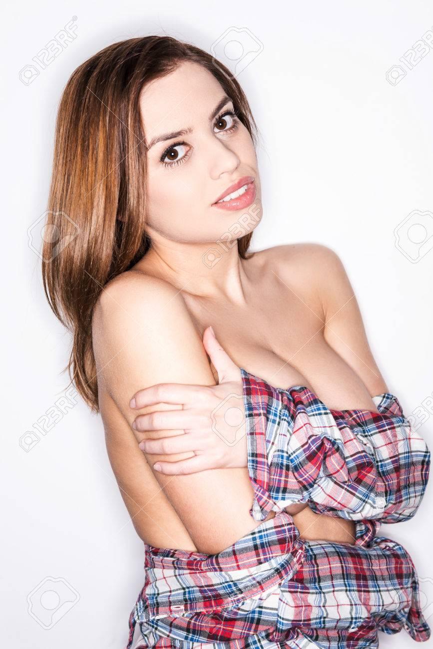 Pantalones Hermosa Vaqueros Mujer Joven Coqueta Sintiendo En wqXA5