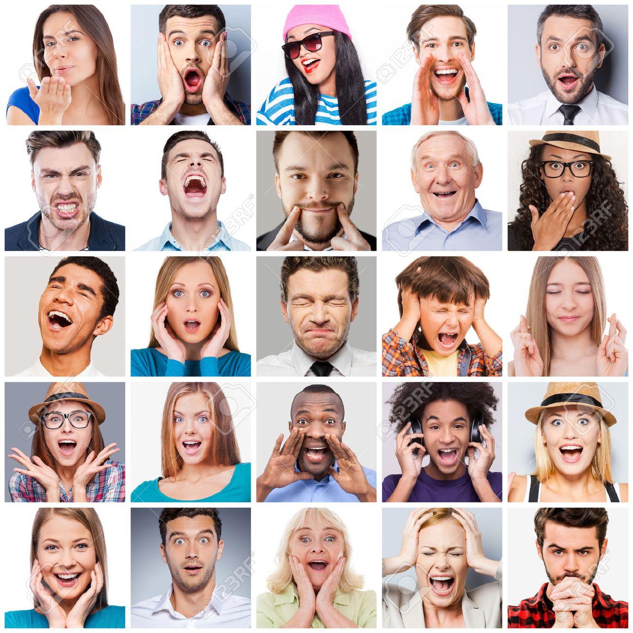 Diversas Personas Con Diferentes Emociones Collage De Diversas