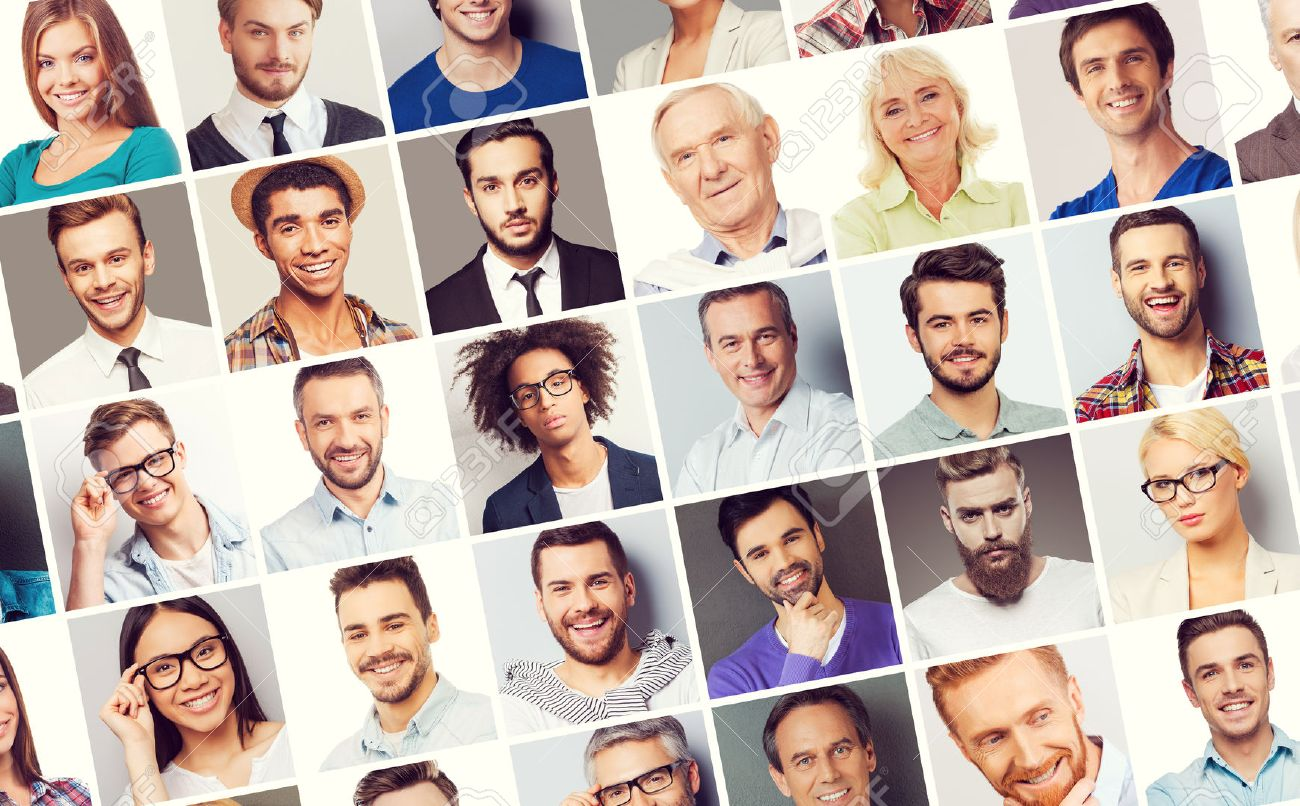 All about people. Collage of diverse multi-ethnic and mixed age people expressing different emotions - 47475754