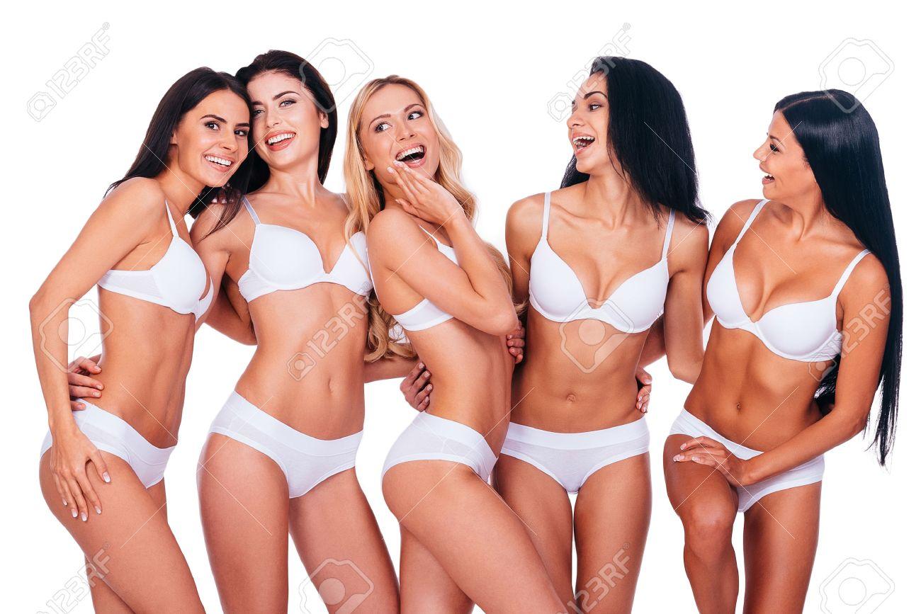 Perfekte Schönheit Fünf Schöne Frauen In Dessous Posiert Und Suchen