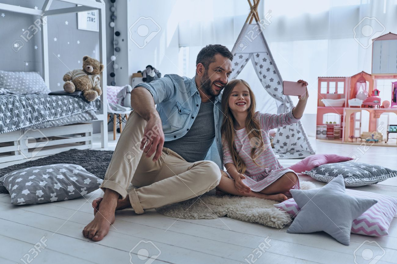 Selfie With Dad Young Father And His Little Daughter Taking Stock Photo Picture And Royalty Free Image Image 75978765