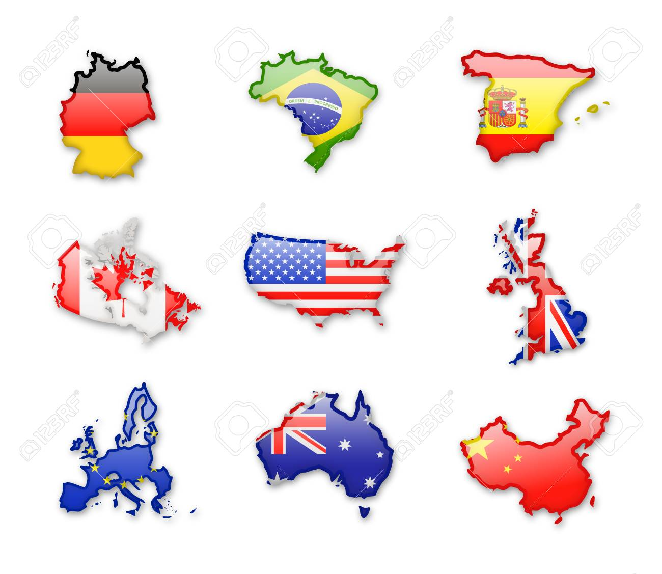 Collection of worlds largest countries flags isolated on white. Vector Icon set. - 90660596