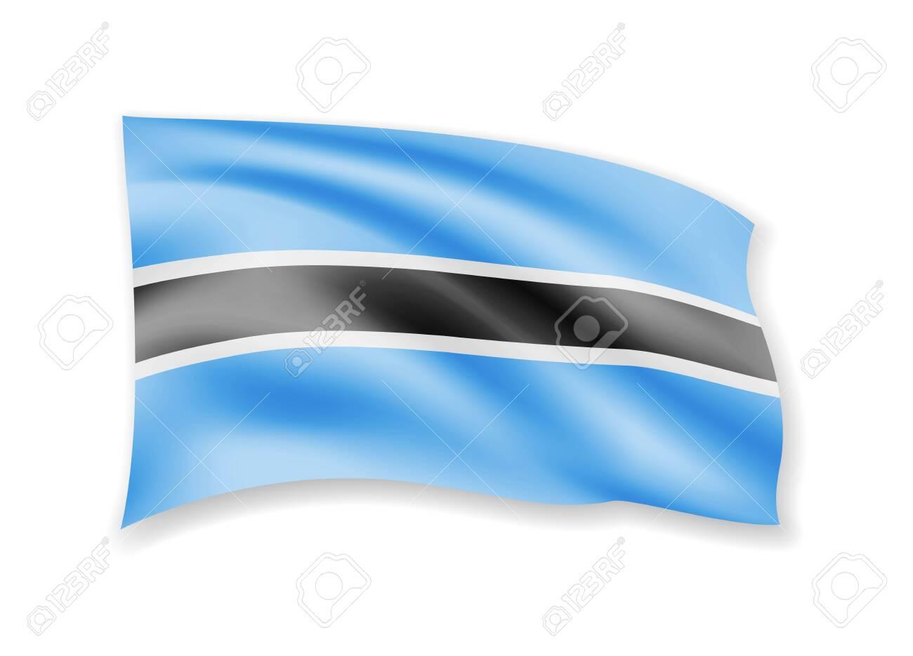 Waving Botswana flag on white  Flag in the wind vector illustration