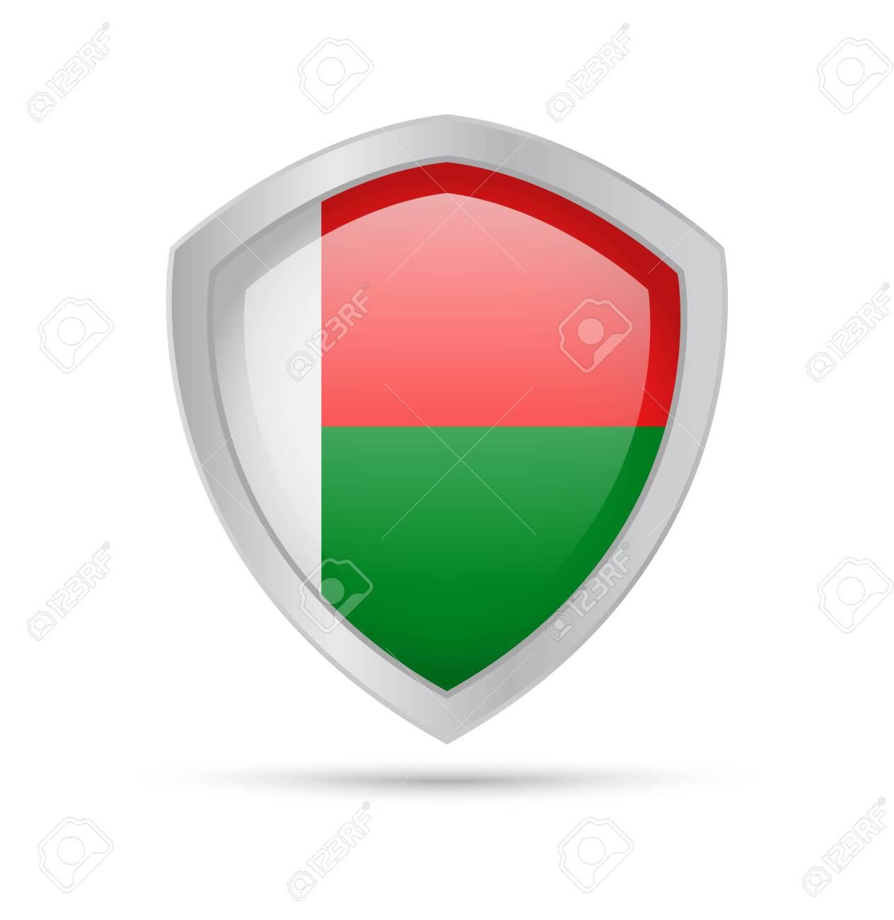 Shield with Madagascar flag on white background. Vector illustration. - 122126555