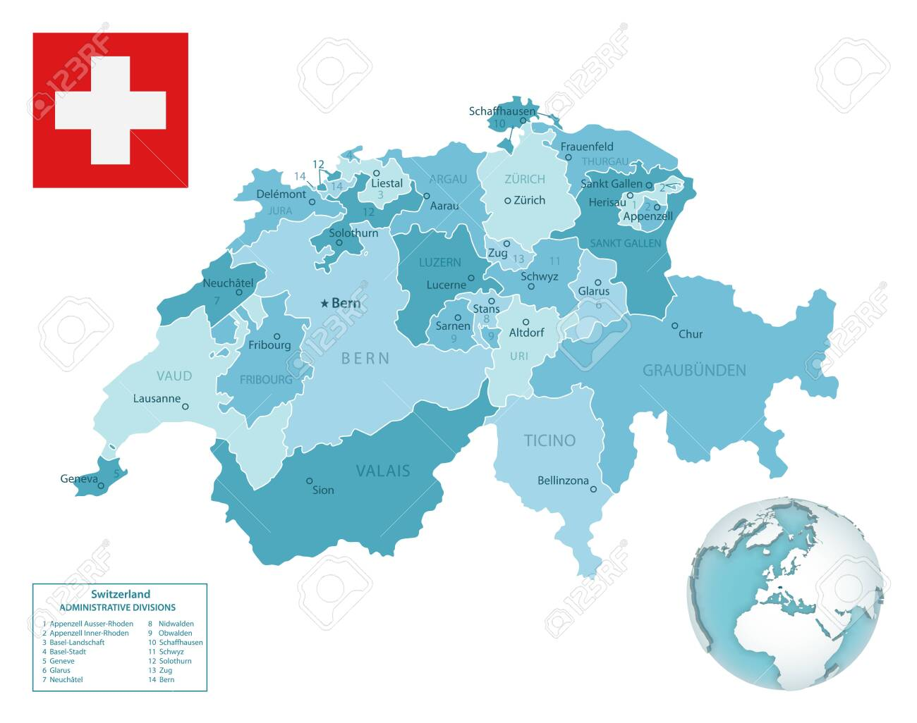 Picture of: Switzerland Administrative Blue Green Map With Country Flag And Royalty Free Cliparts Vectors And Stock Illustration Image 144406175