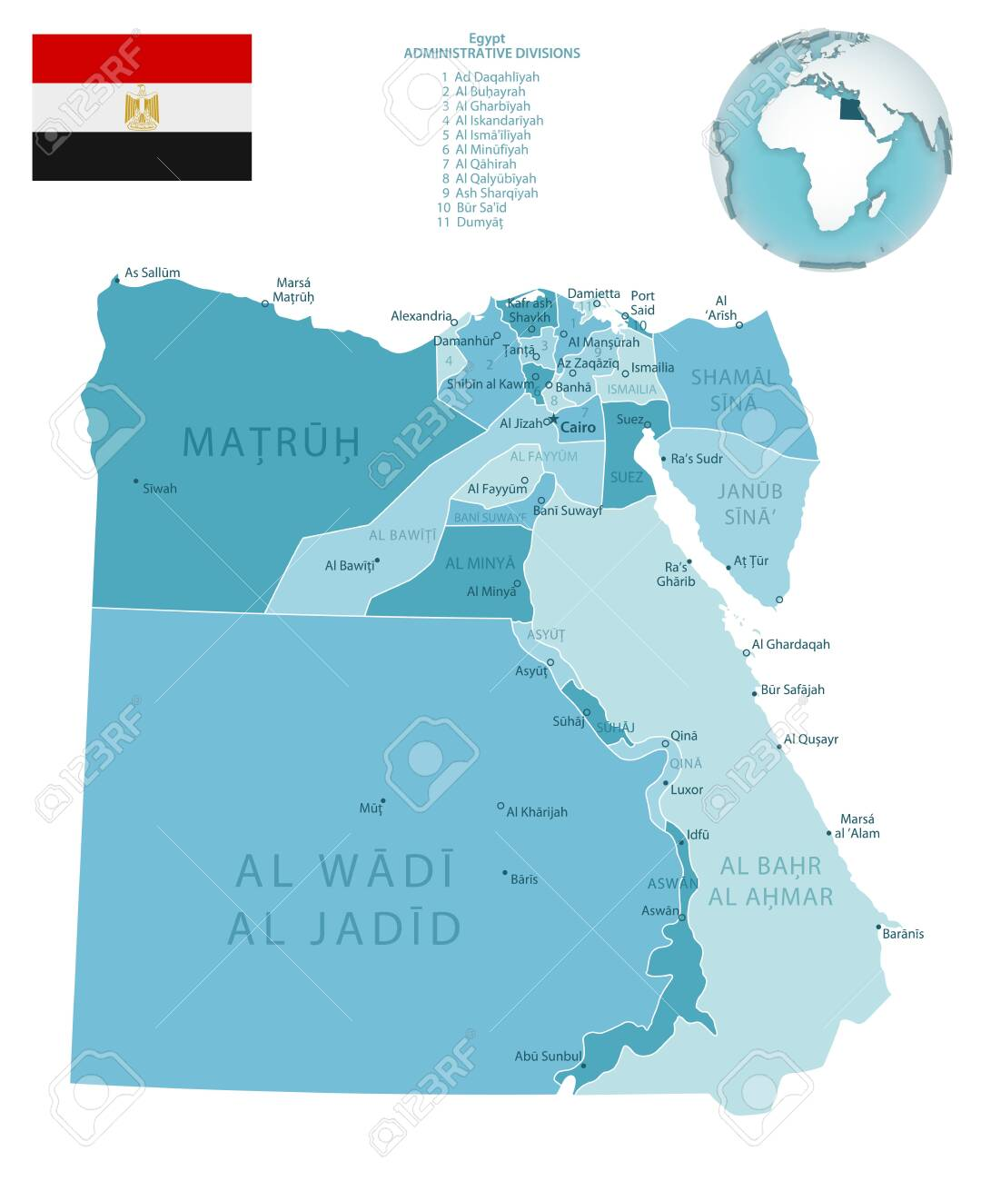 Picture of: Egypt Administrative Blue Green Map With Country Flag And Location Royalty Free Cliparts Vectors And Stock Illustration Image 150601270