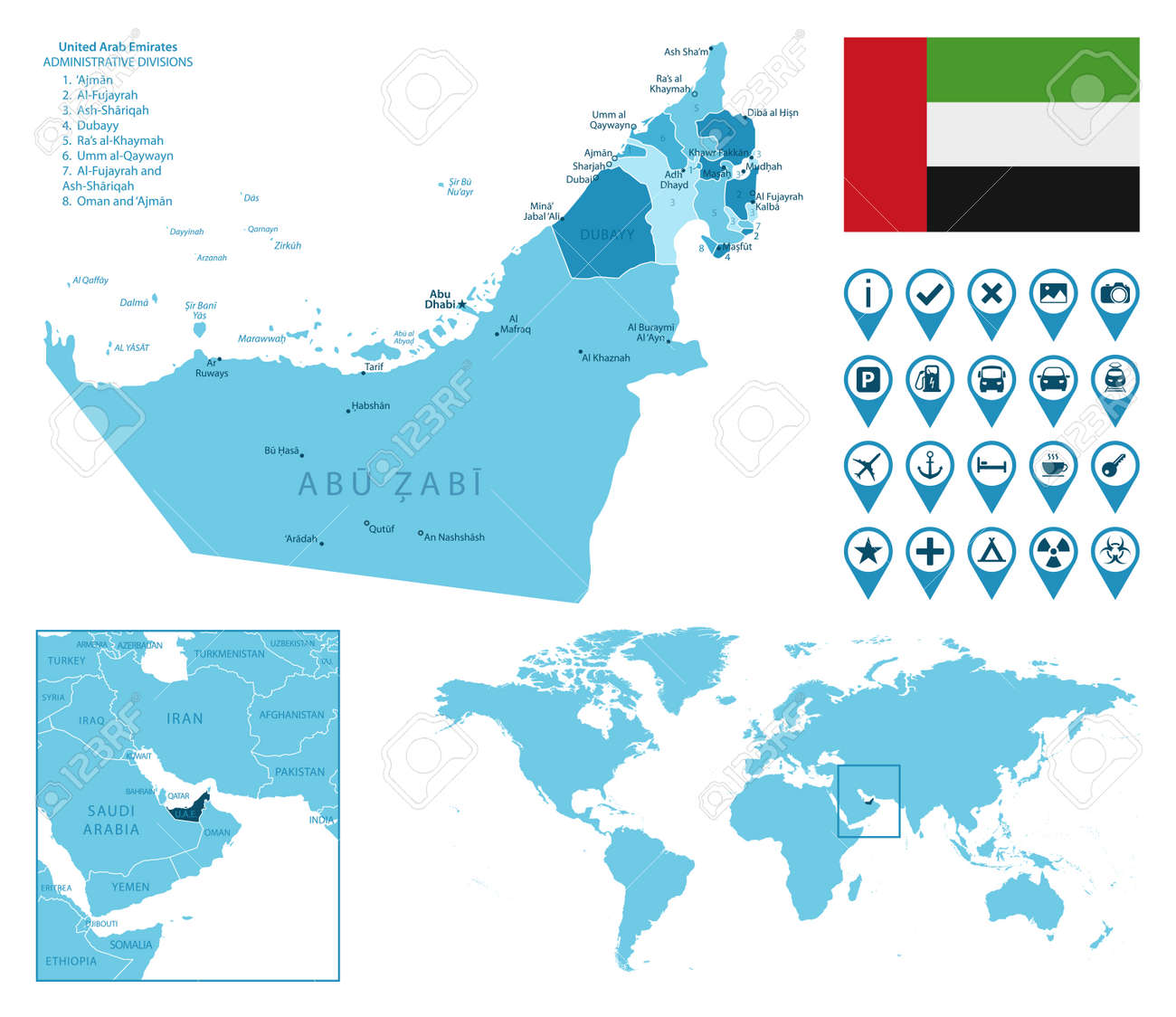United Arab Emirates detailed administrative blue map with country flag and location on the world map. - 166961416