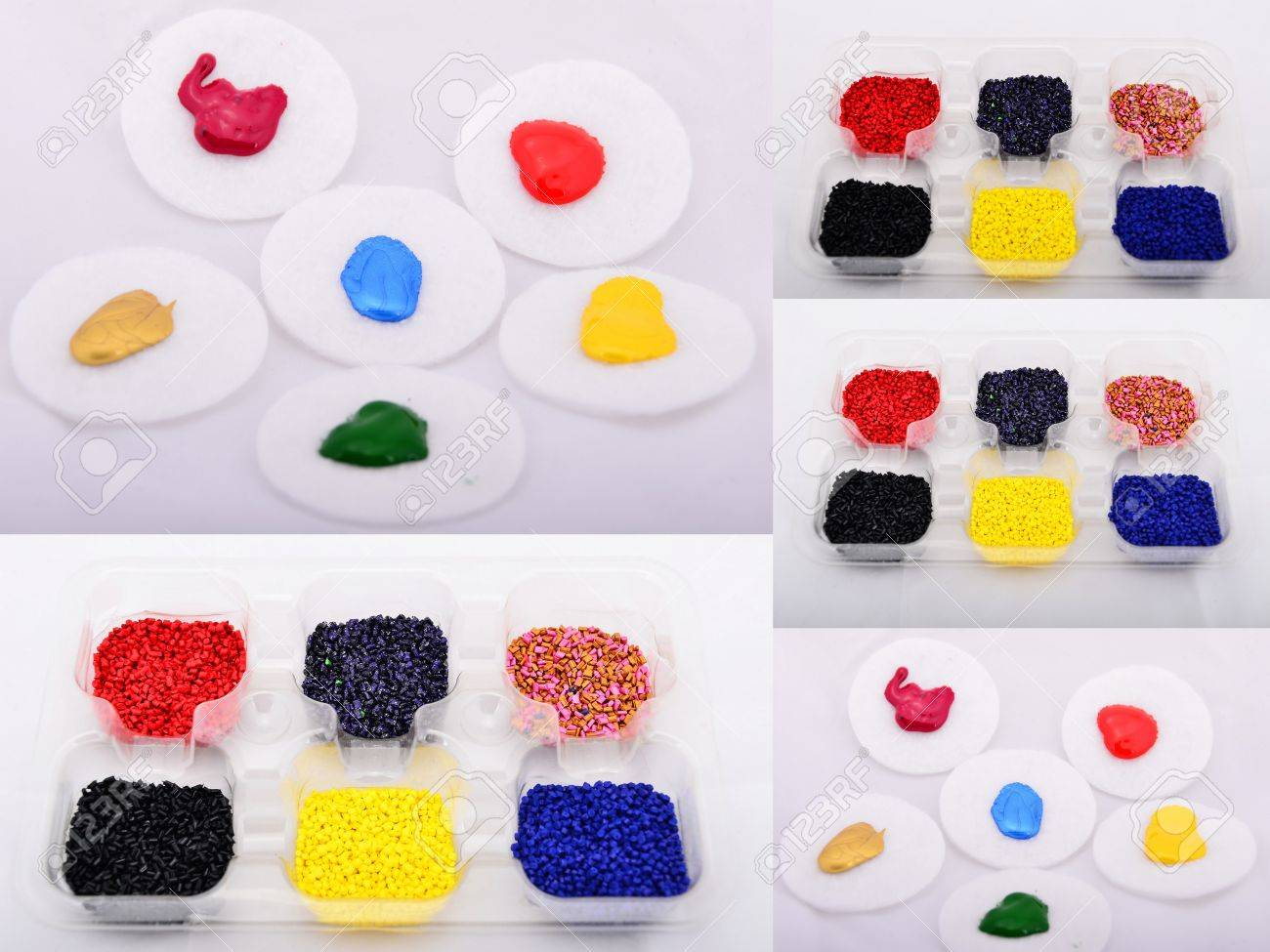 Colored polymer granules and paints were shot in plastic cap Stock Photo - 13218508