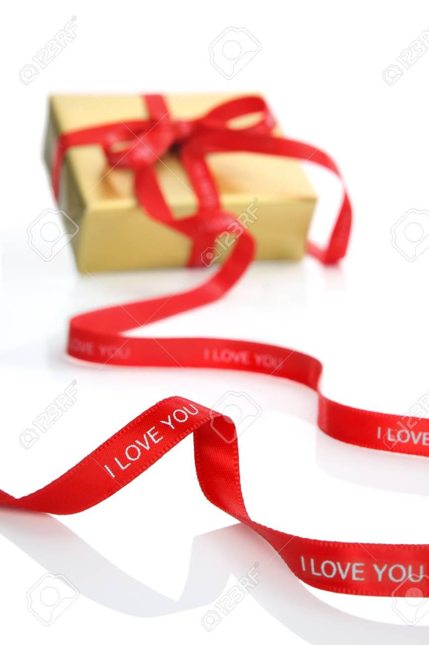 Gift box present with Valentine's ribbon Stock Photo - 8850190