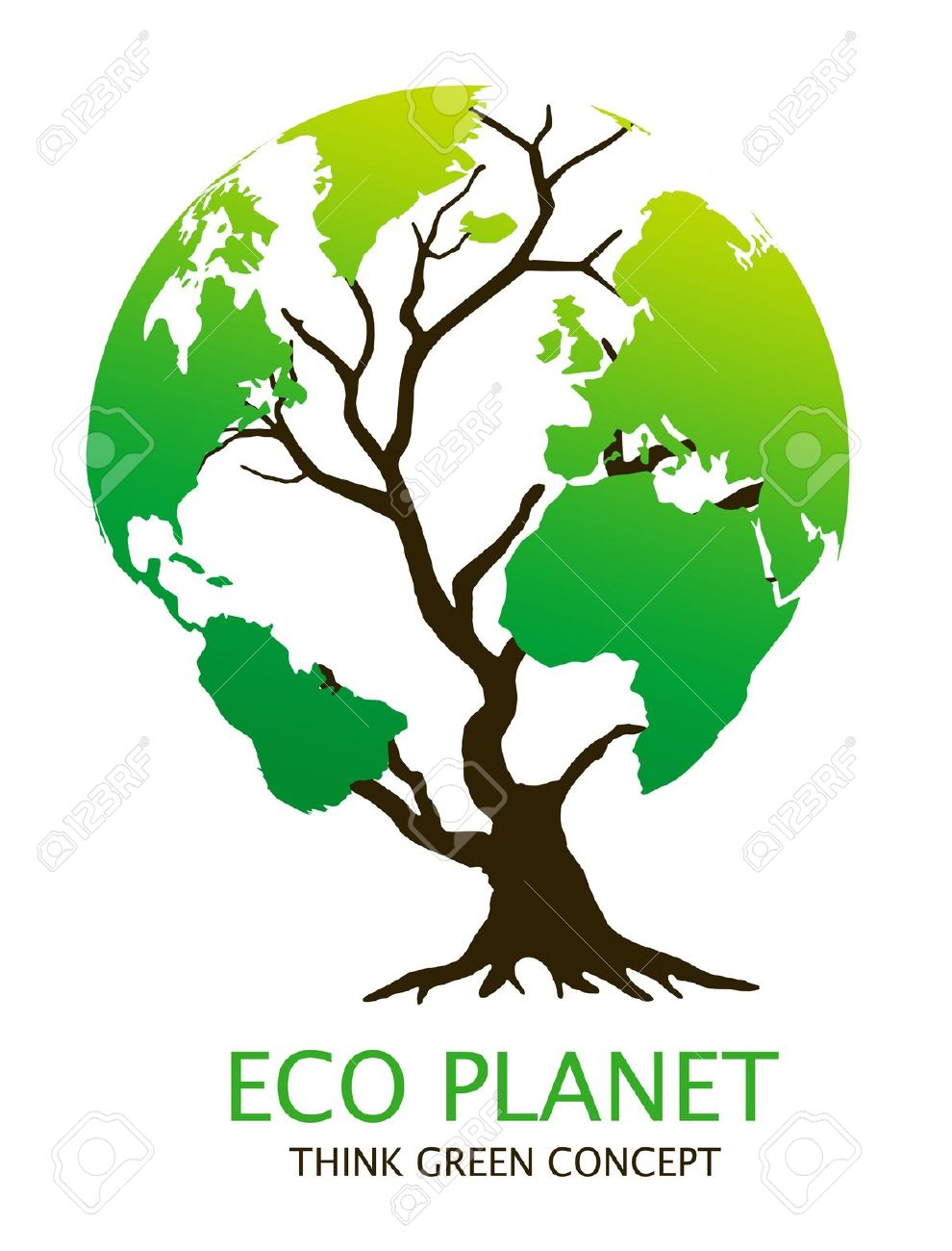 Eco-friendly &quot,earth tree&quot, illustration. Green environment concept Stock Illustration - 11096171