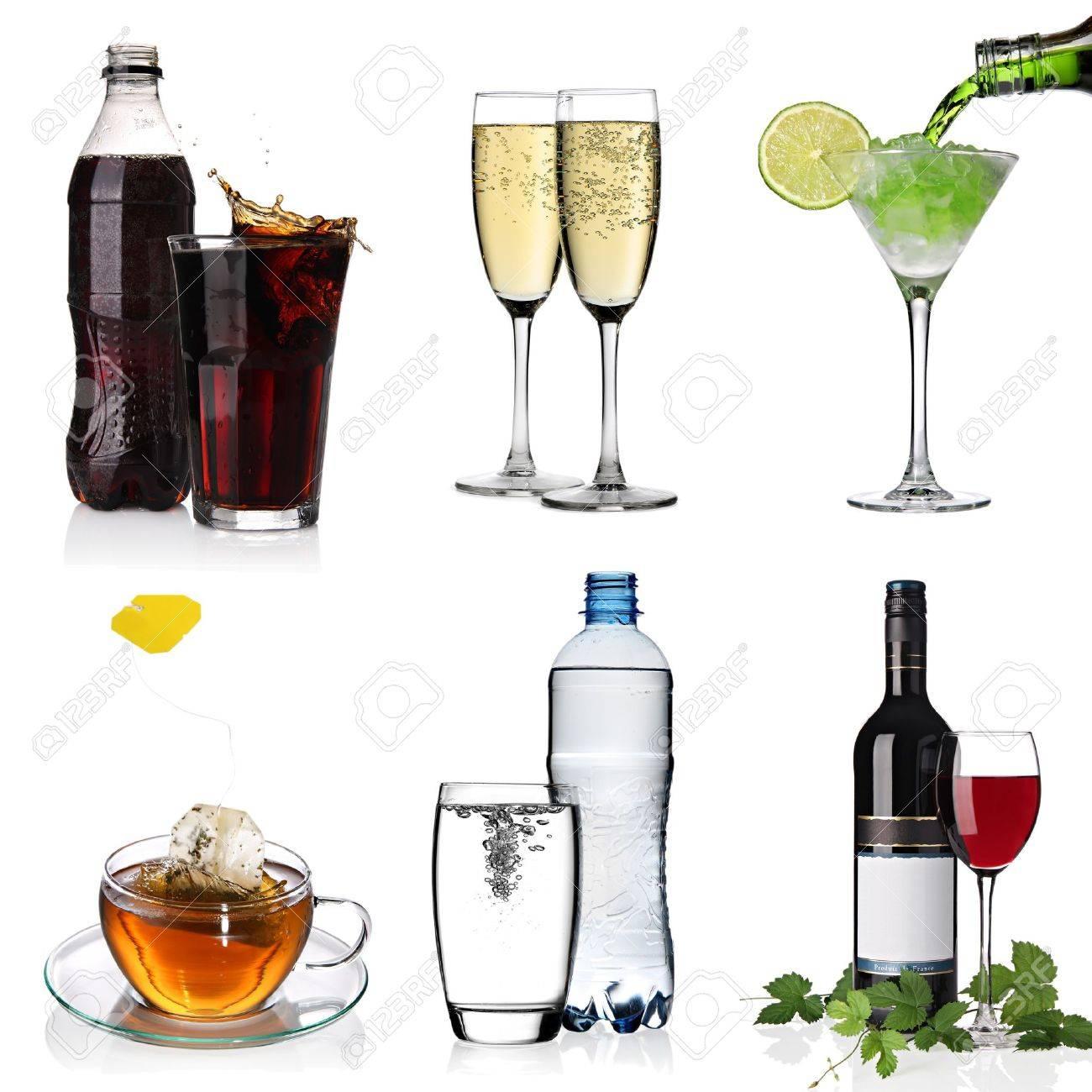 Calici Vino E Acqua bevande collage con cola, cocktail, acqua, tazza di tè, bicchieri di  champagne e vino rosso