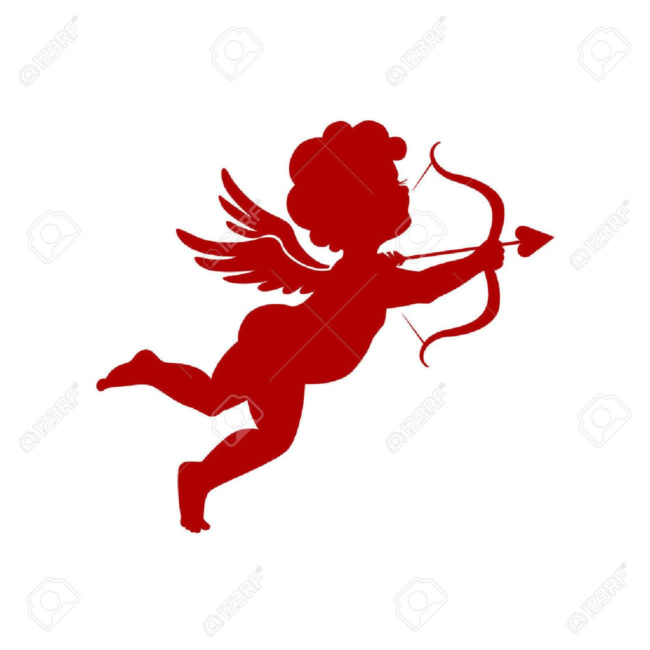 Cupid shooting silhouette on white background vector illustration - 53401603