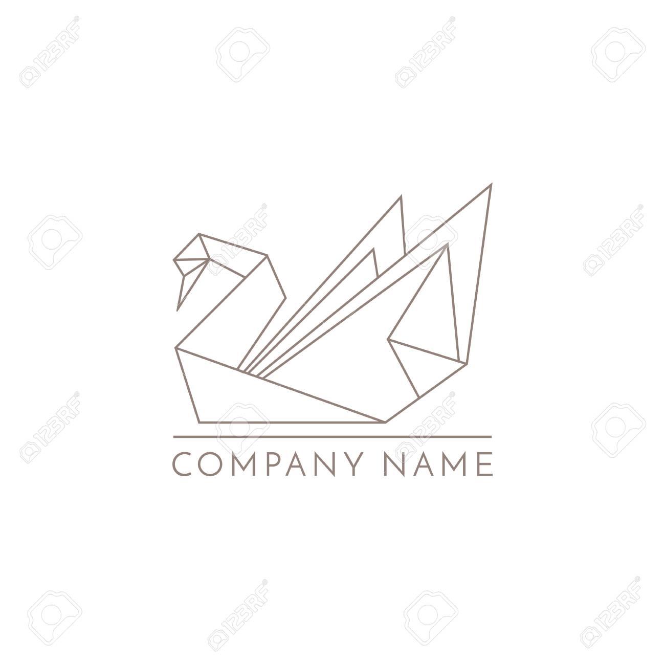 Swan logo origami line sign on white background stock photo swan logo origami line sign on white background stock photo 87335925 jeuxipadfo Gallery