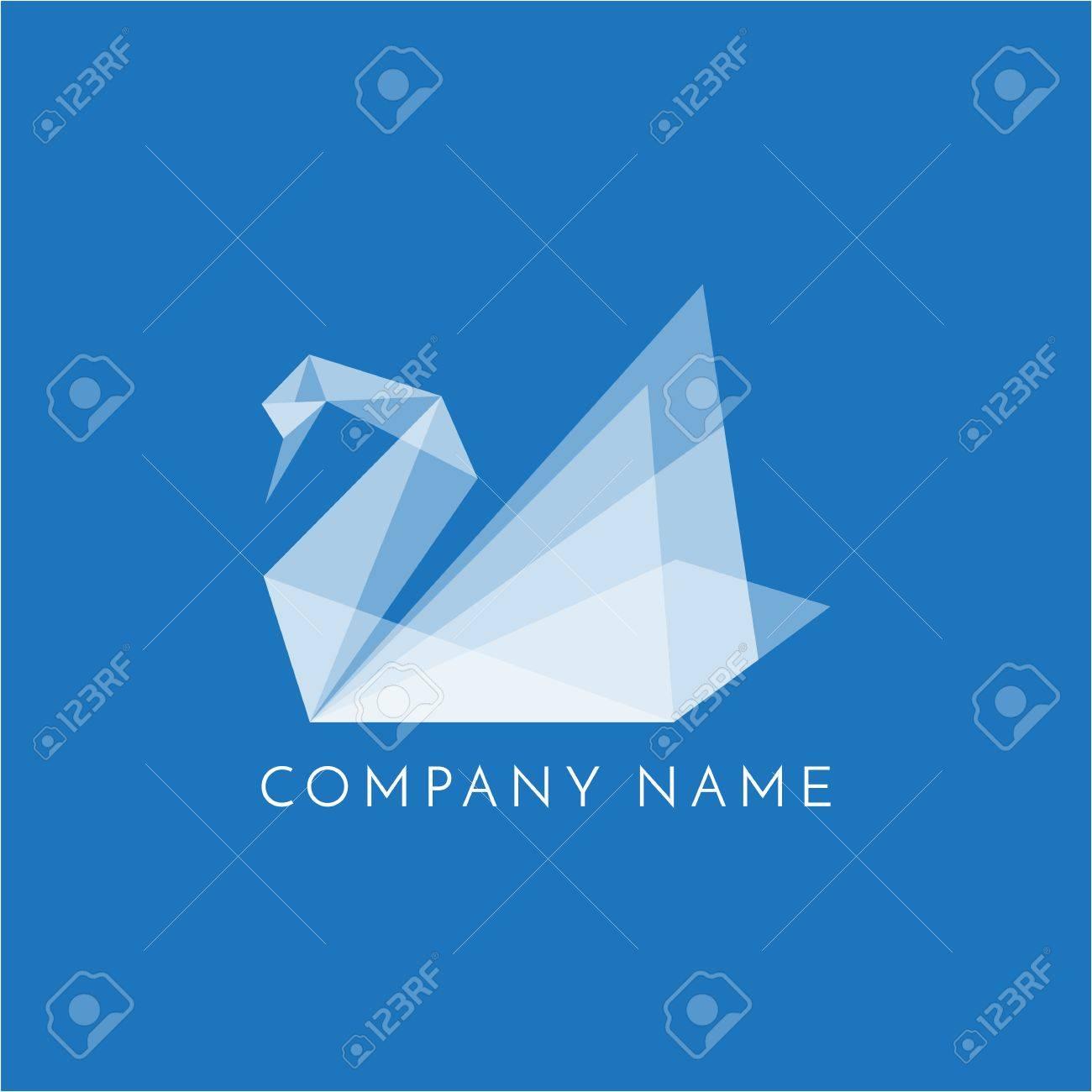 Swan logo origami sign on blue background stock photo picture and swan logo origami sign on blue background stock photo 87335926 jeuxipadfo Gallery
