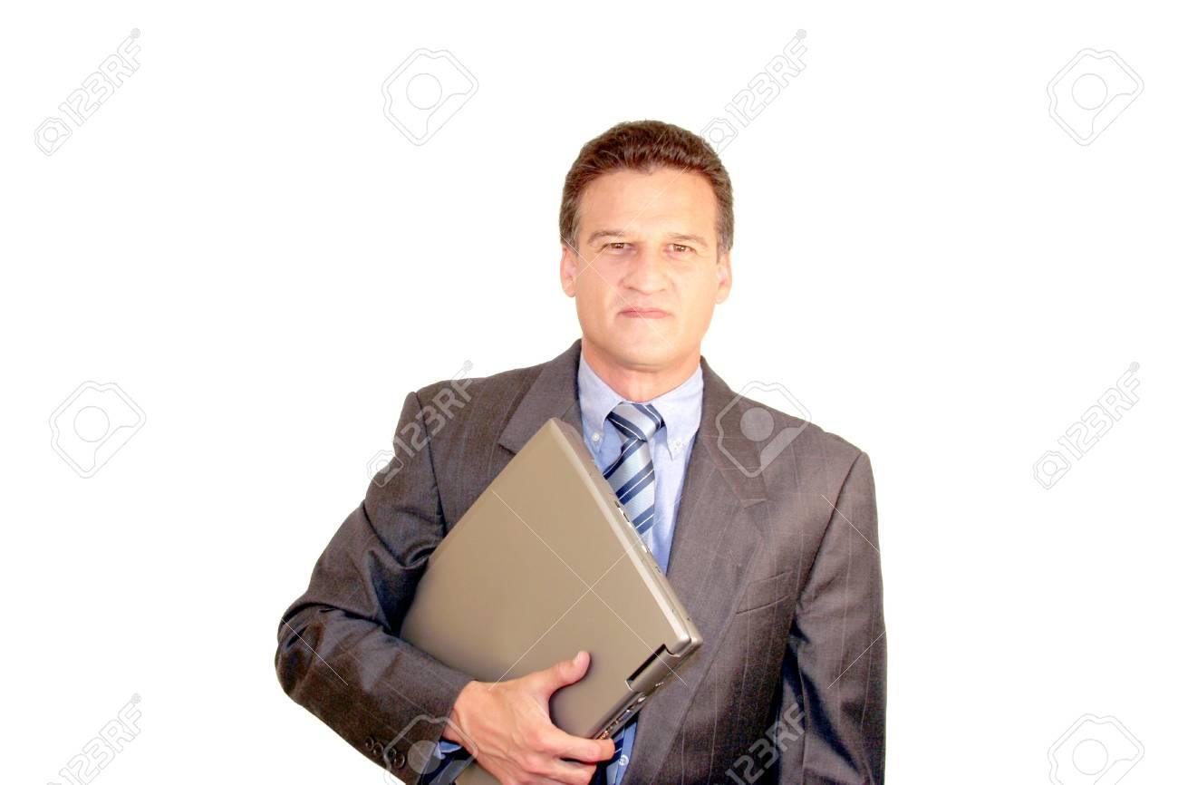 Businessman carrying a laptop Stock Photo - 3068419