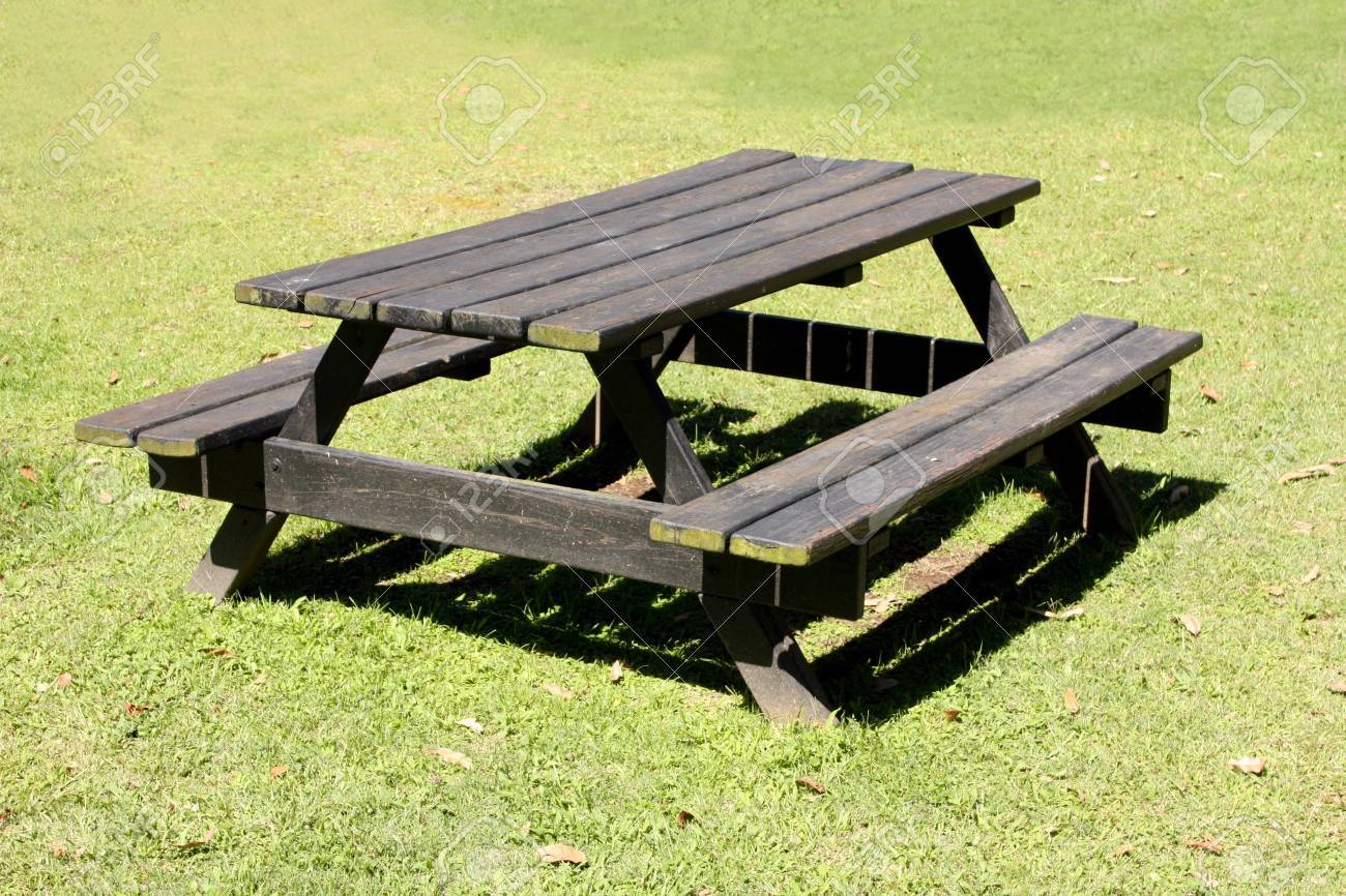 Picnic Table Outside On A Grass Field Stock Photo   6663542