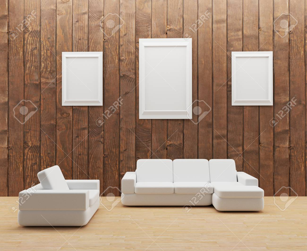 Interior Wooden Room With White Sofa And Frame Photo In 3d Illustration Stock Photo Picture And Royalty Free Image Image 69216386