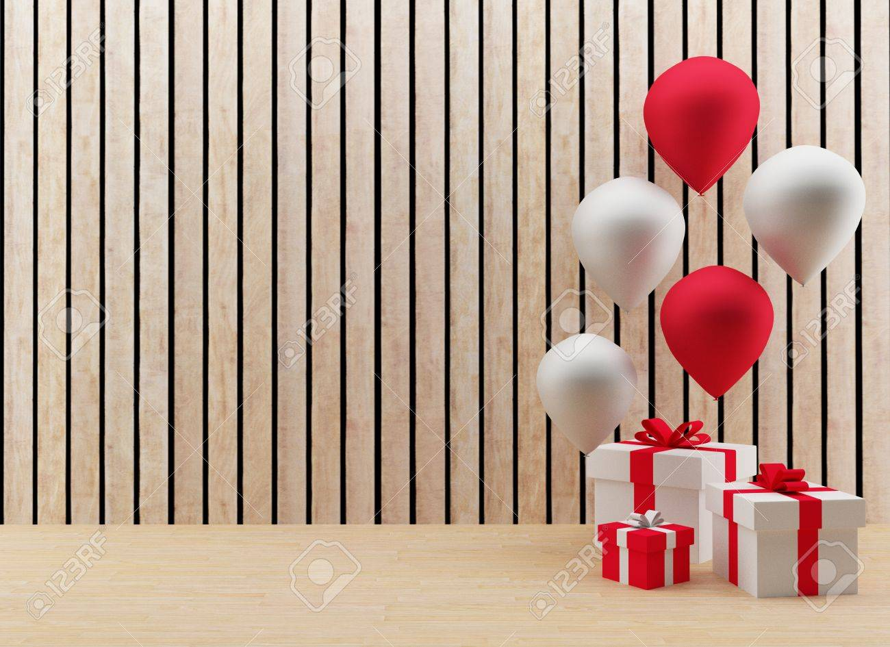 gift boxes with red and white balloons for festival and celebration in 3D render image - 72056737
