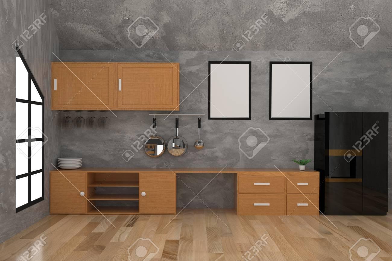 Cocina Contemporánea En El Diseño De Interiores De Concreto ...