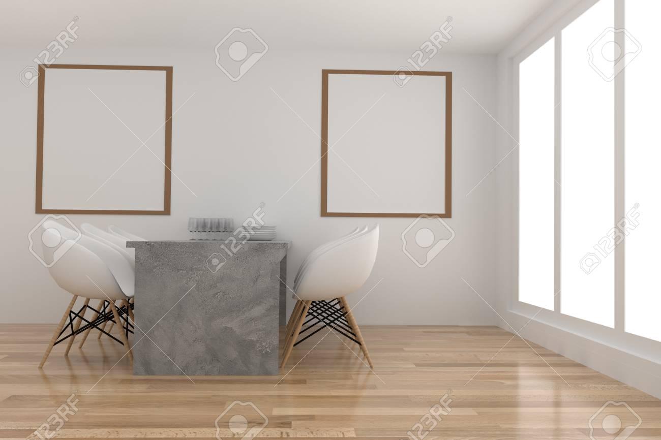 Sala da pranzo in bianco e legno in camera design in 3D rendering