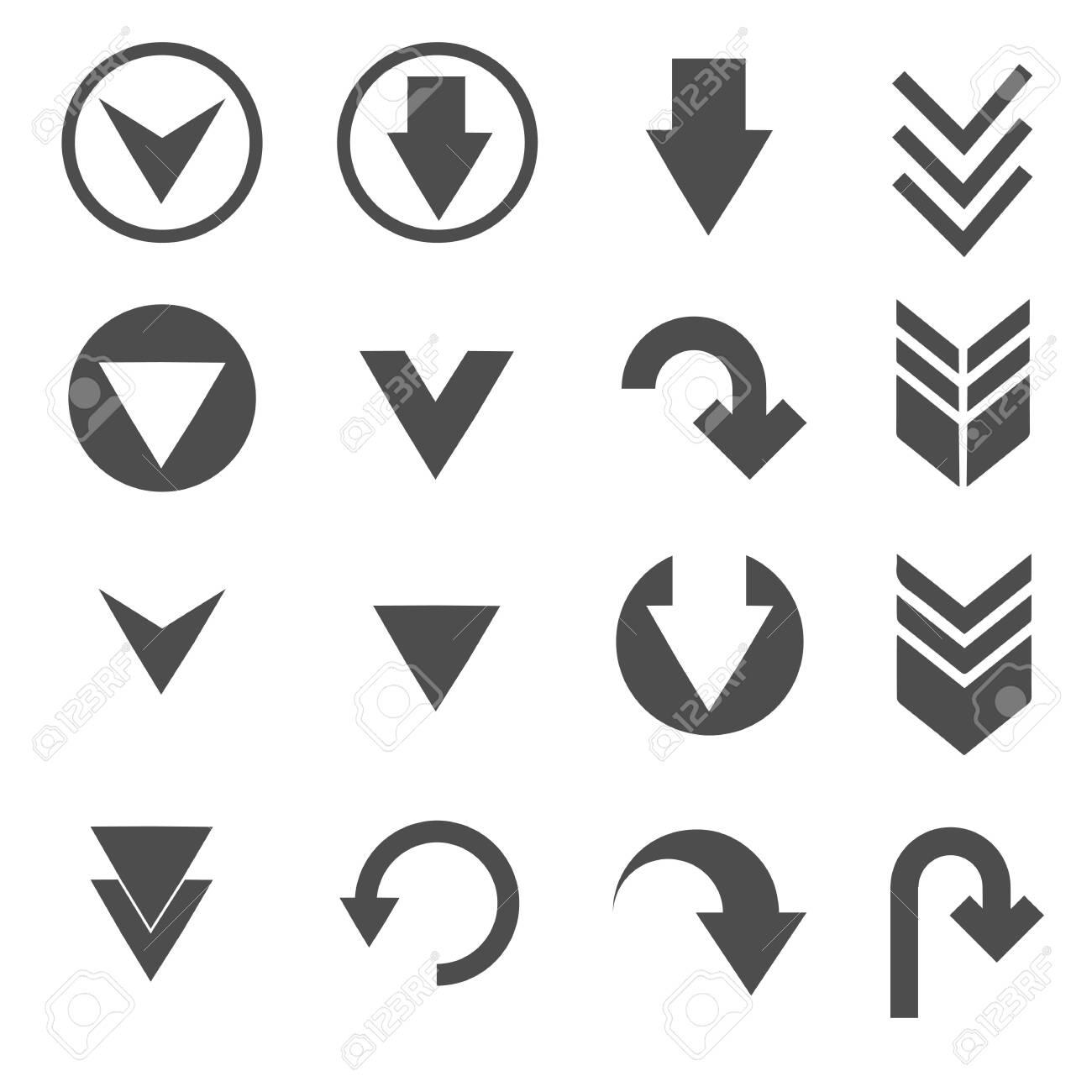 down arrow sign icons set - 146346902