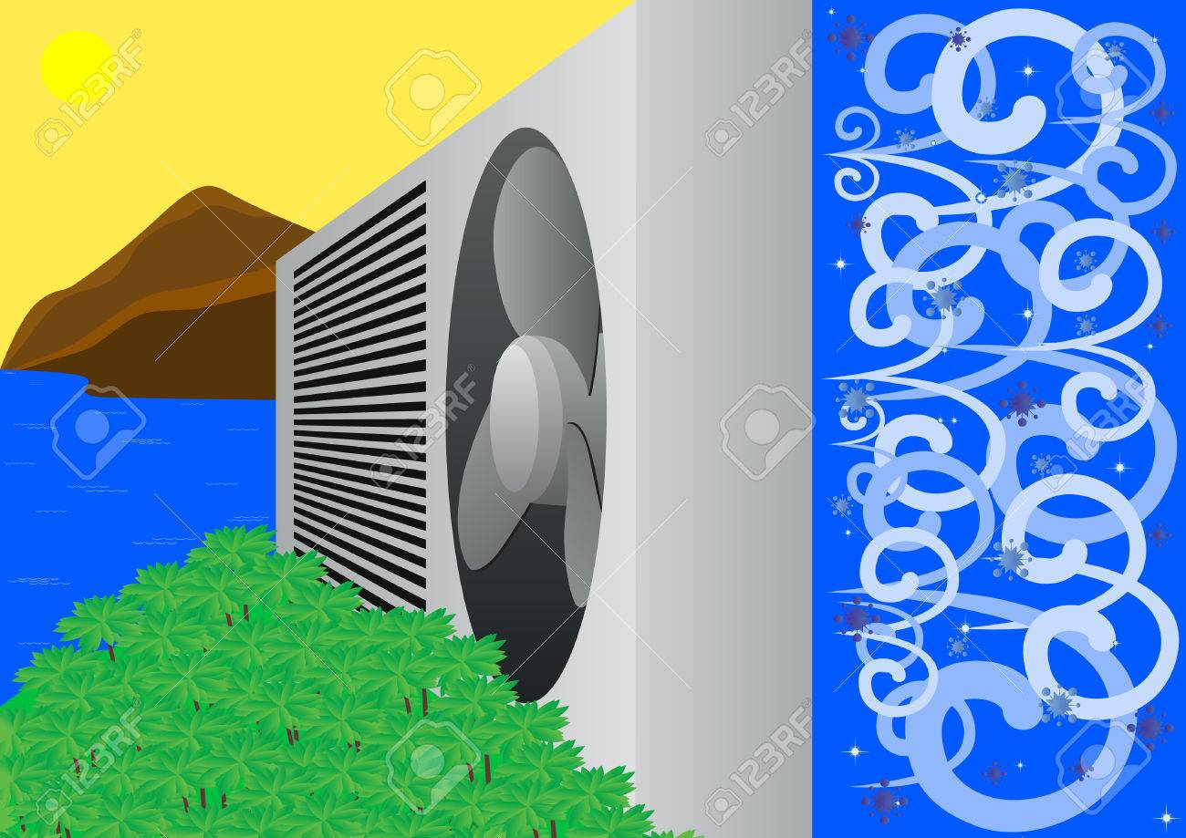 Air conditioner is made from a hot summer frosty winter Stock Vector - 8478864