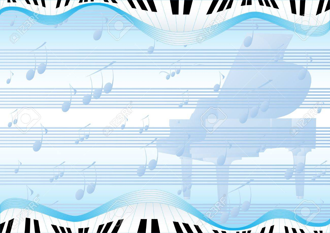 Blue abstract background with a grand piano and musical signs Stock Vector - 8912783