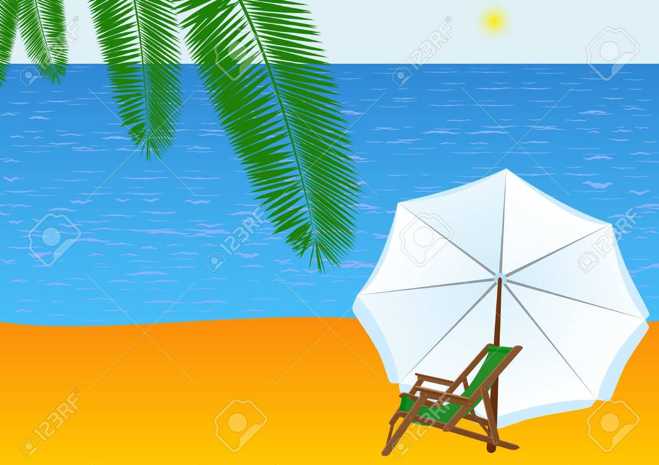 Sunbeds and sun umbrellas are at the beach. Stock Vector - 9317983
