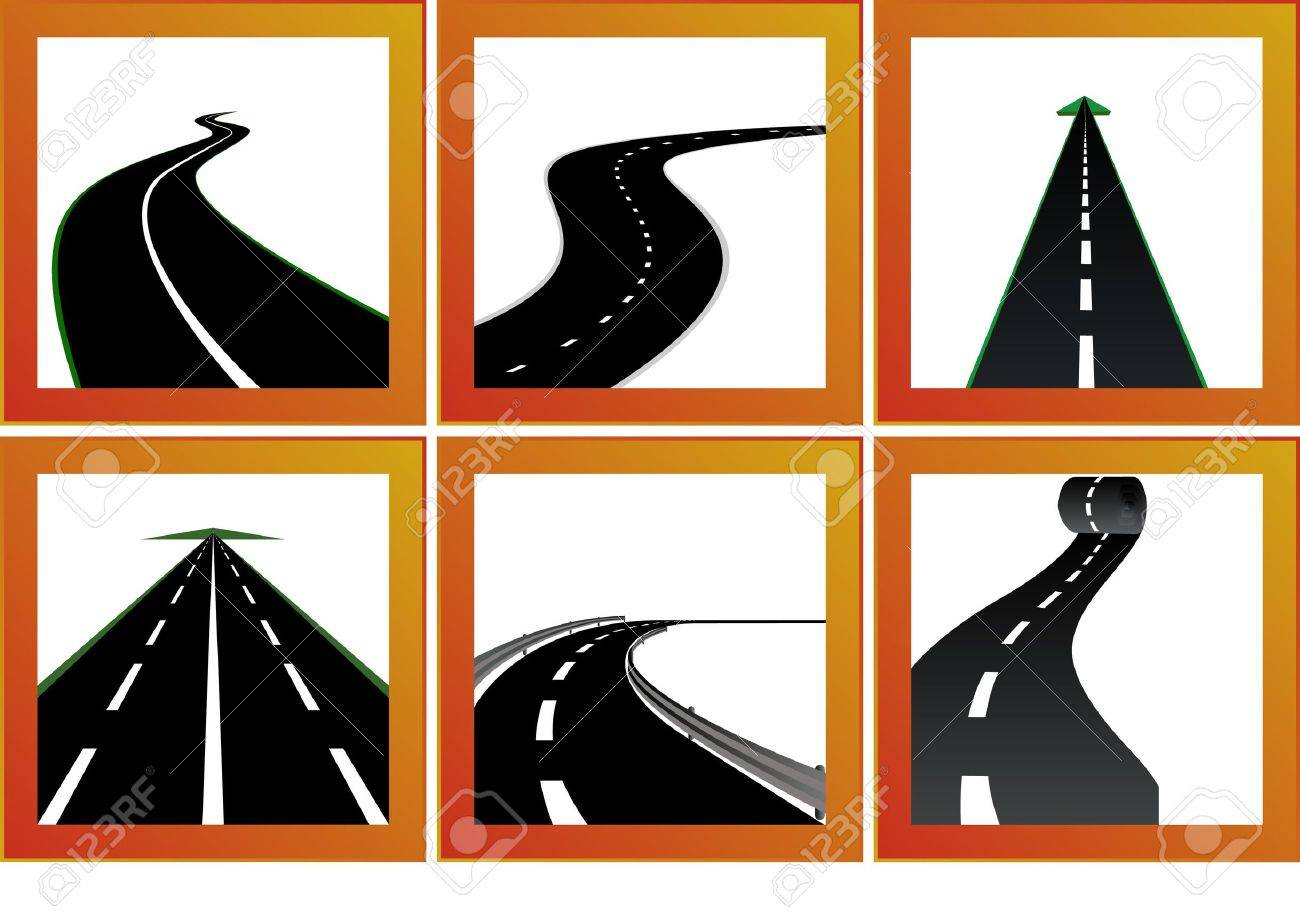Icons with abstract images of roads and road markings Stock Vector - 9345158