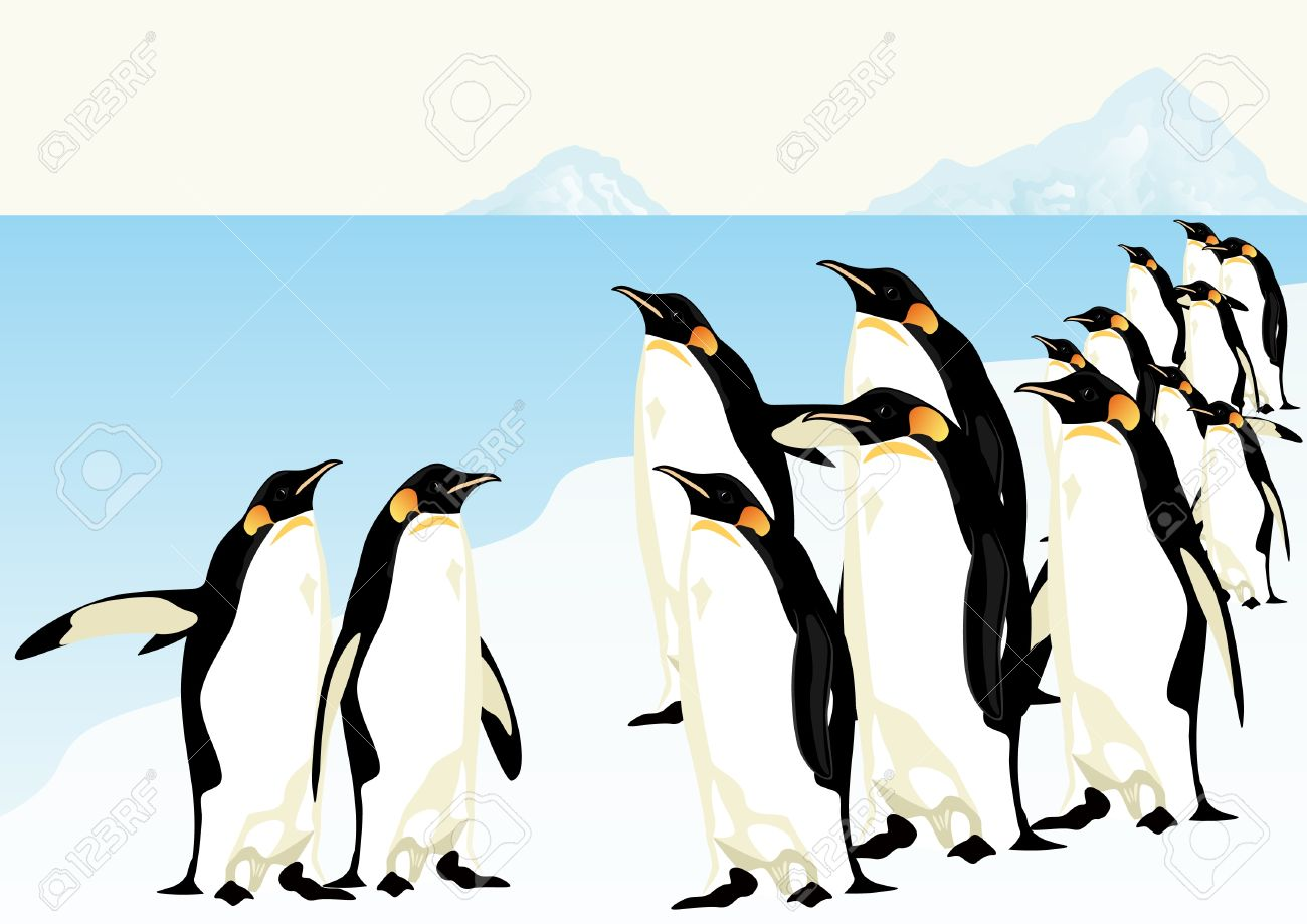 Group of penguins standing on an ice floe in the middle of the Arctic Ocean. Stock Vector - 9404251