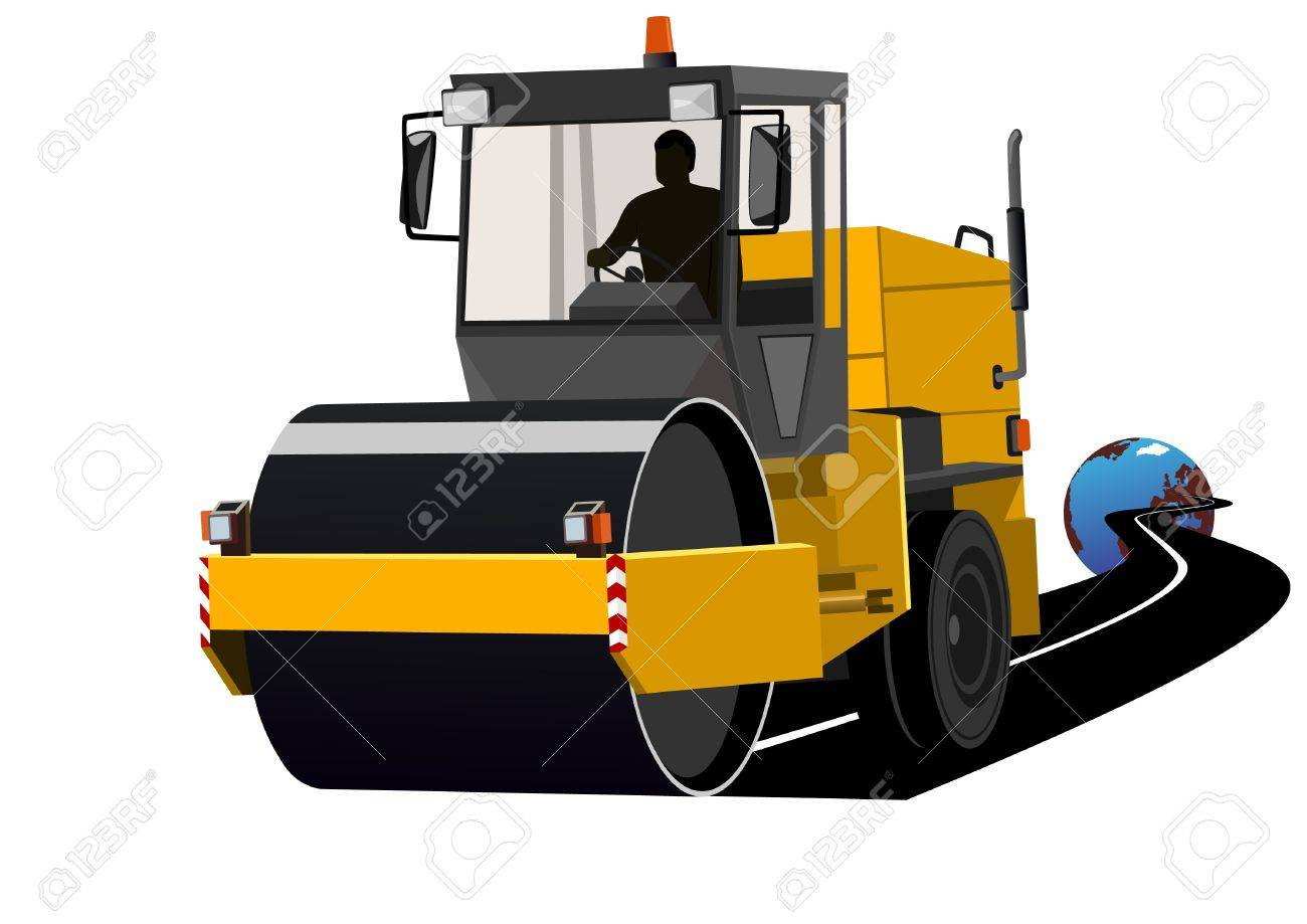 Road construction machinery during construction of the road. Stock Vector - 9450199