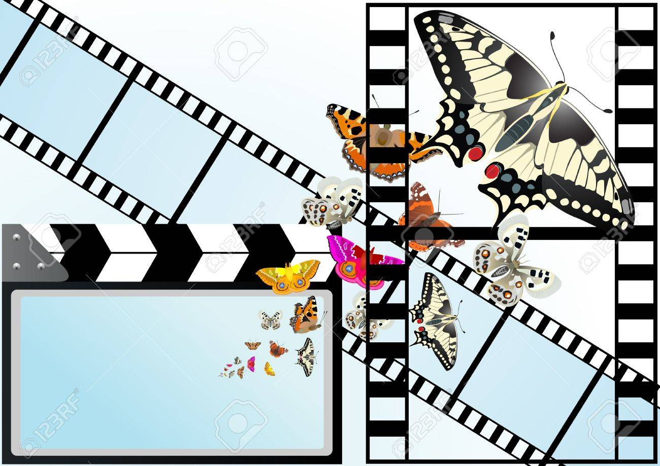 Movie cracker, used in the process of making a film with a screen from which emerge a butterfly. Stock Vector - 9944150