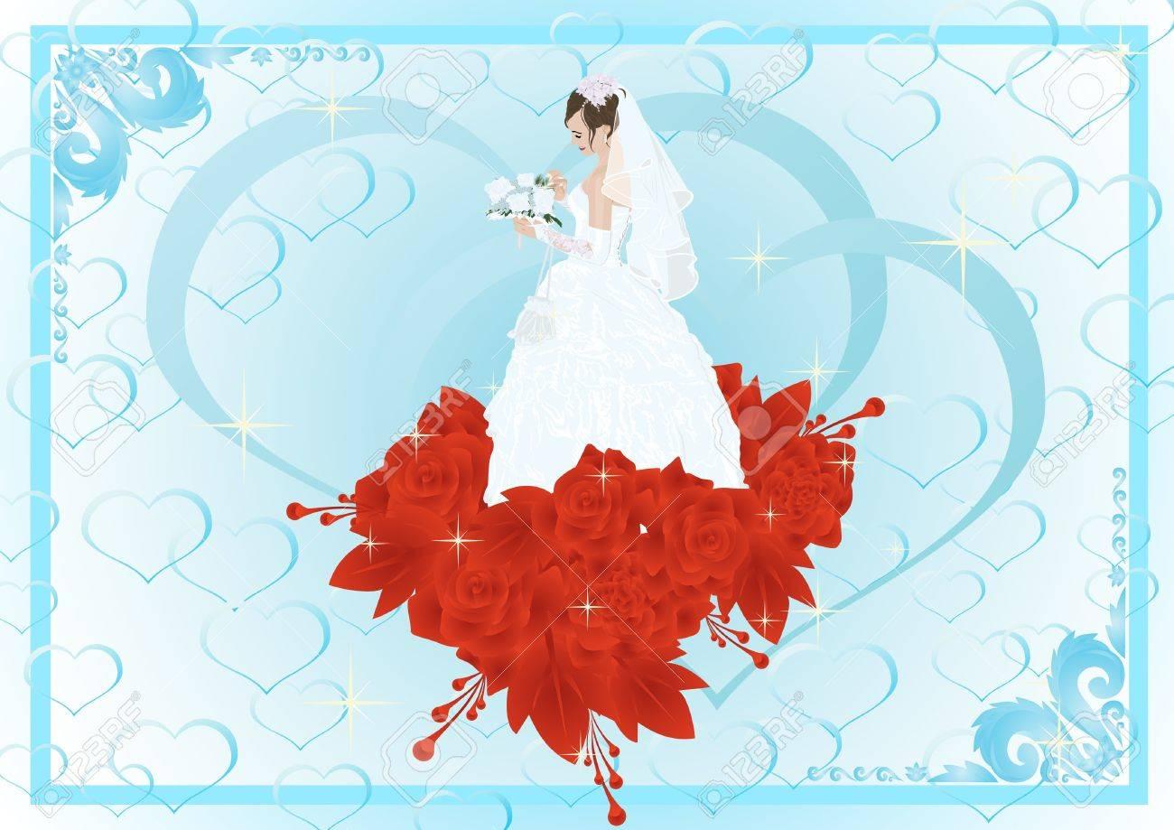 Rahmen Mit Der Braut In Ihrem Brautkleid Und Blumenstrauß Ist Eine ...