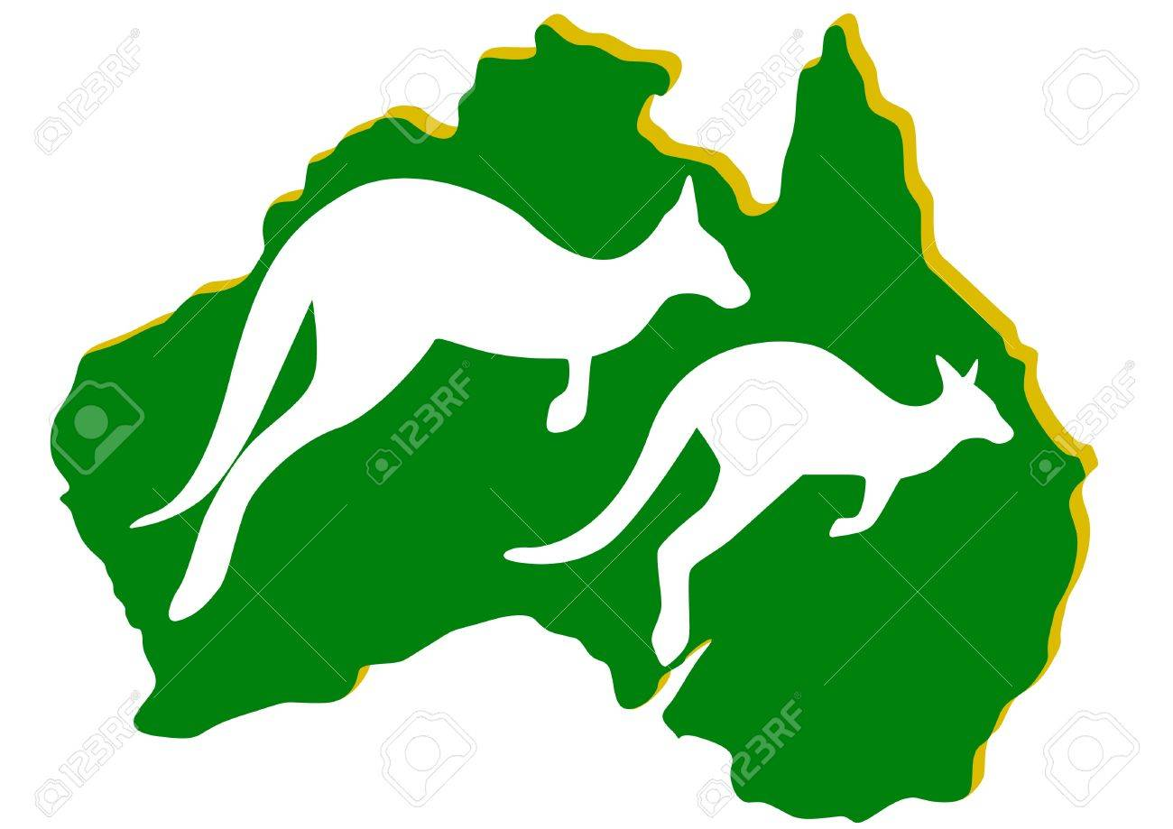 Map Of Australia With The Contour Of The Kangaroo The - Australia map kangaroo