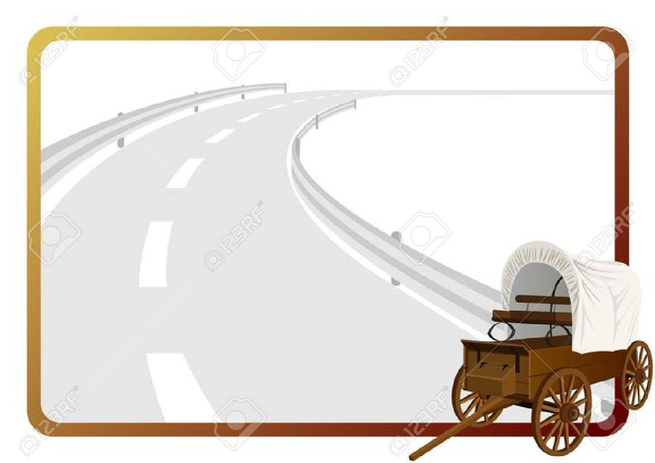 Ein Alter Planwagen Im Hintergrund Aus Einem Rahmen Mit Einer ...
