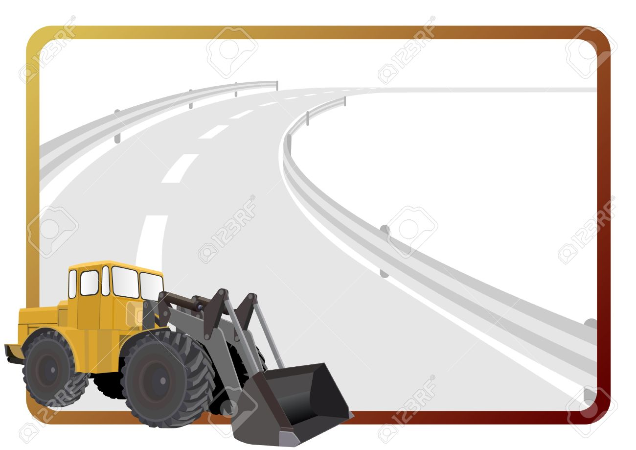 Road Construction Machinery In The Background Of A Frame With An Asphalt Stock Vector
